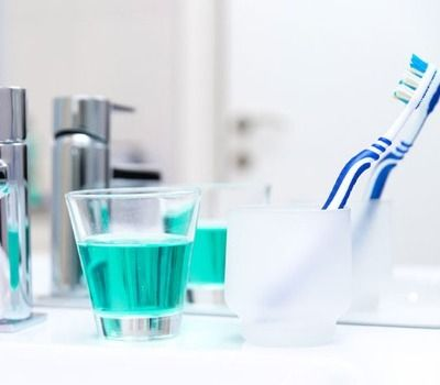 toothbrush by the sink